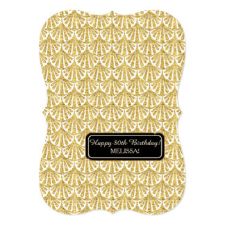 "80th Birthday Party Glam Great Gatsby Style 5"" X 7"" Invitation Card"