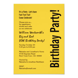 80th Birthday Party Gold and Black Budget V101I 11 Cm X 16 Cm Invitation Card