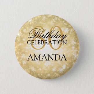 80th Birthday Party Gold Winter Wonderland 6 Cm Round Badge