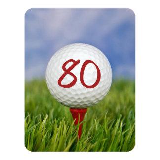 80th Birthday Party Golf theme 11 Cm X 14 Cm Invitation Card