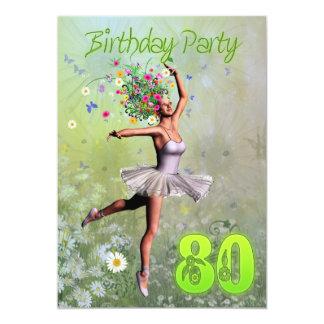"80th Birthday party invitation 5"" X 7"" Invitation Card"