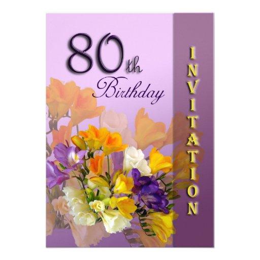 80th Birthday Party Invitation - Freesias
