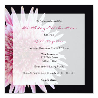 80th Birthday Party Invitation Gerbera Daisy