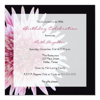 80th Birthday Party Invitation Gerbera Daisy