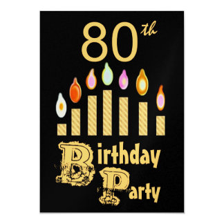 80th Birthday Party Invitation - GOLD
