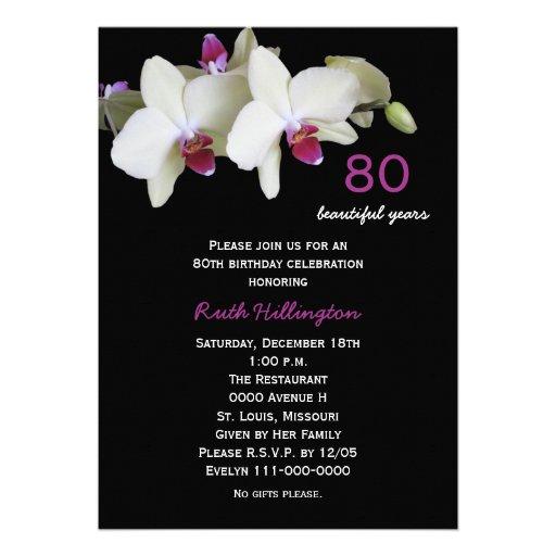 80th Birthday Party Invitation -- Orchids Invite