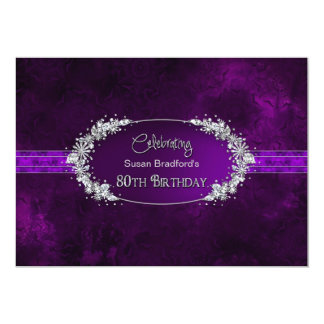 80TH BIRTHDAY PARTY INVITATION - PURPLE/GEMS