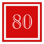 80th Birthday Party Invitation - Red
