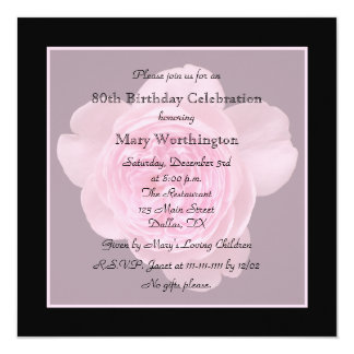 80th Birthday Party Invitation Rose for 80th