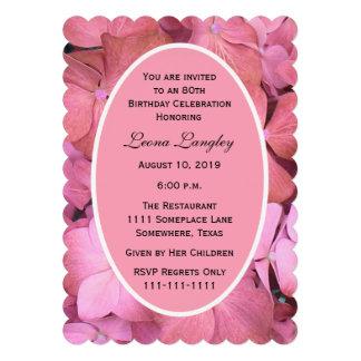 80th Birthday Party Invitation Scalloped Hydrangea Invite