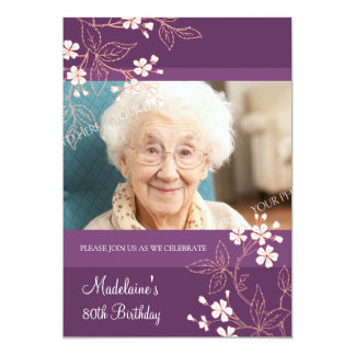 80th BIrthday Party Invitations Plum Coral Flowers