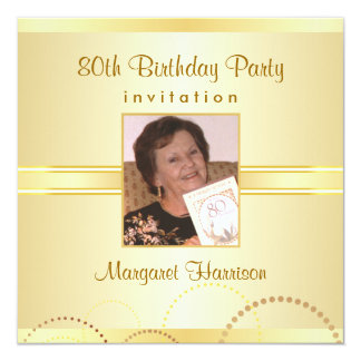 80th Birthday Party Invitations with Photo Option