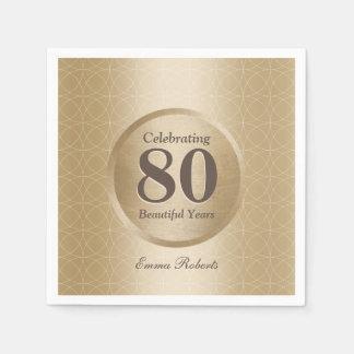 80th Birthday Party Monogram Gold Elegant Disposable Napkin
