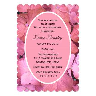 80th Birthday Party Pink Scalloped Hydrangeas 13 Cm X 18 Cm Invitation Card