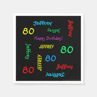 80th Birthday Party Repeating Names, Black Paper Disposable Napkin