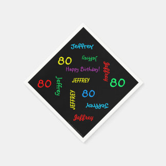 80th Birthday Party Repeating Names Black Paper Disposable Serviettes