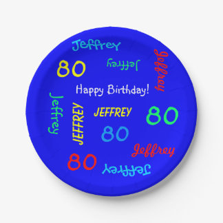 80th Birthday Party, Repeating Names, Royal Blue Paper Plate