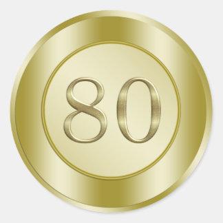 80th Birthday Party Round Sticker