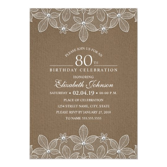 80th Birthday Party Rustic Burlap Pearls and Lace Card