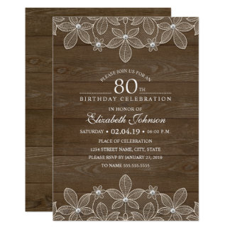 80th birthday party Rustic Wood Unique Lace Card
