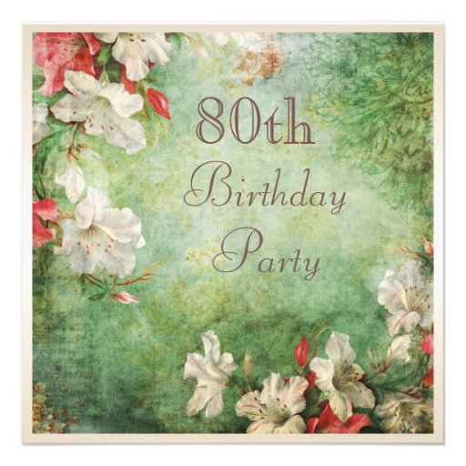 80th Birthday Party Shabby Chic Hibiscus Flowers Invites
