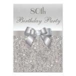 80th Birthday Party Silver Sequins, Bow & Diamond 13 Cm X 18 Cm Invitation Card