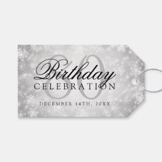 80th Birthday Party Silver Winter Wonderland Gift Tags