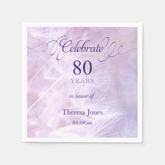 80th Birthday Party Standard Cocktail Napkin Disposable Serviette