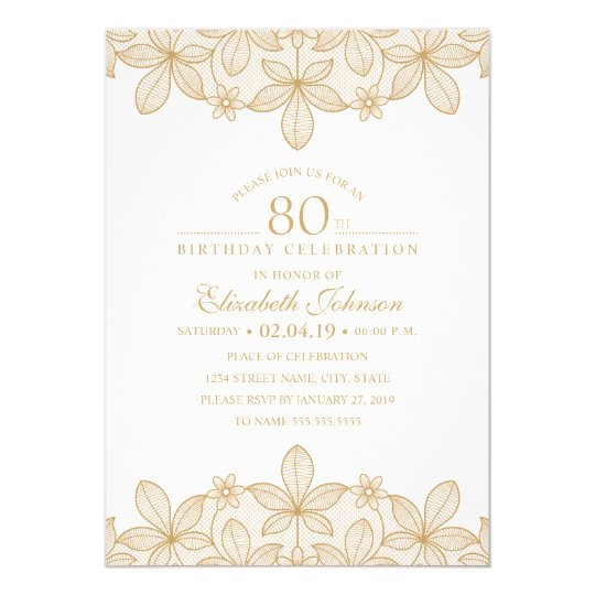 80th Birthday Party Unique Golden Lace Card