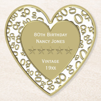 80th Birthday Party White and Gold Theme Paper Coaster