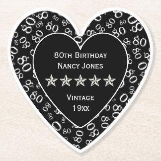 80th Birthday Party White/Black Theme Paper Coaster