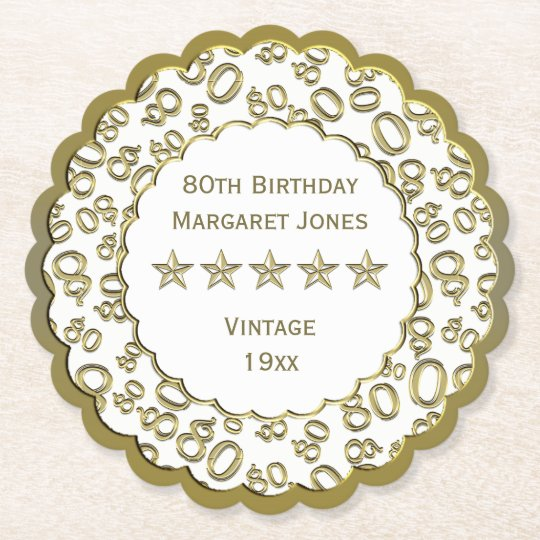 80th Birthday Party White /Gold Pattern Theme Paper Coaster