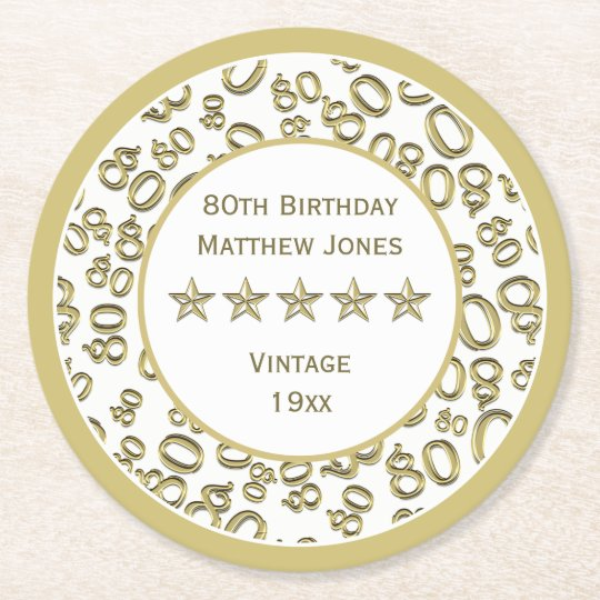 80th Birthday Party White /Gold Round Pattern Round Paper Coaster