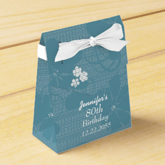 80th Birthday, Personalized Favor Box, Blue Floral Favour Box