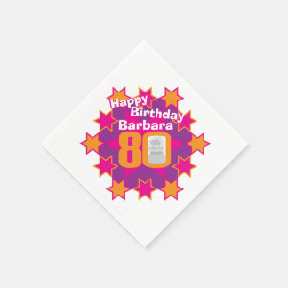 80th birthday photo and name pink star napkins disposable napkin