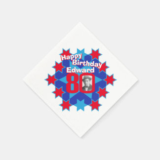 80th birthday photo and name red star napkins disposable serviette