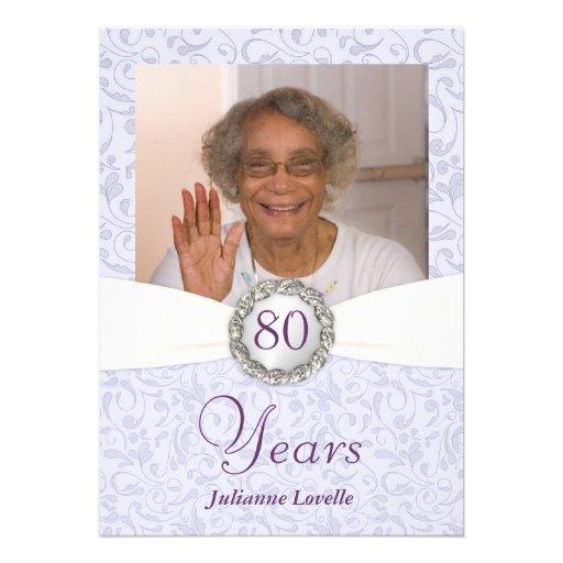 80th Birthday Photo Invitations Lavender Damask Invitations