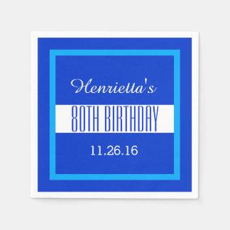 80th Birthday Royal Blue Frame Custom V01G Paper Napkin