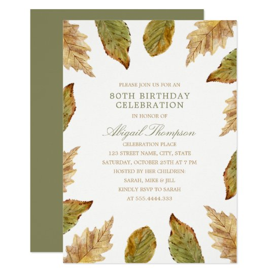80th Birthday Rustic Fall Leaves Country Party Card