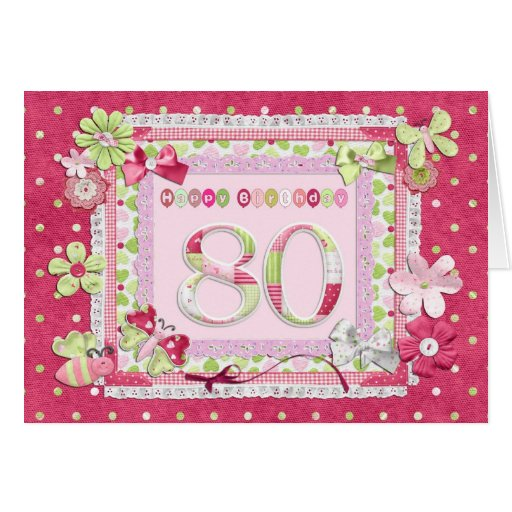 80th birthday scrapbooking style greeting card