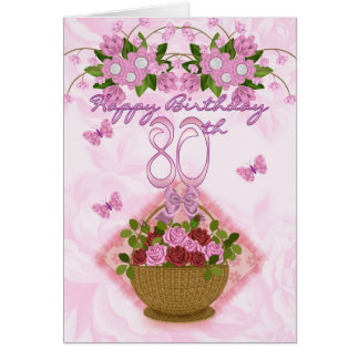 80th Birthday Special Lady Roses And Flowers - 80 Card