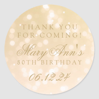 80th Birthday Thank You Gold Bokeh Sparkle Lights Classic Round Sticker
