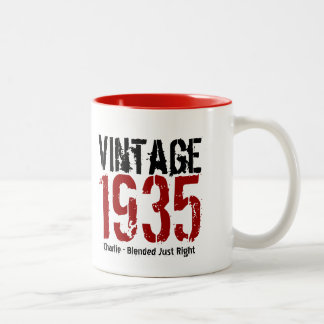 80th Birthday Vintage 1935 or Any Year V01E1 Two-Tone Coffee Mug