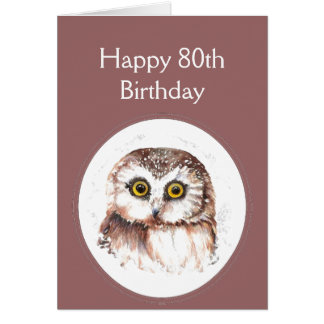 80th Birthday Who Loves You, Cute Owl Humour Greeting Card