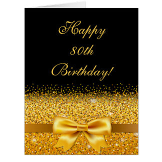 80th birthday with gold bow on chic black card