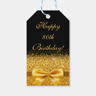 80th birthday with gold bow on chic black gift tags