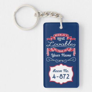 80th Birthday World's Most Lovable 80-Year-Old Double-Sided Rectangular Acrylic Key Ring