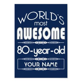 80th Birthday Worlds Best Fabulous Dark Blue 13 Cm X 18 Cm Invitation Card