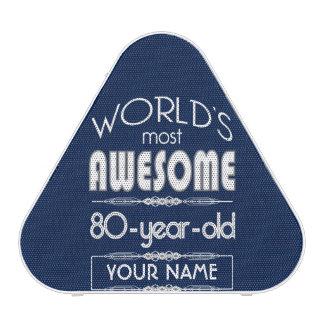80th Birthday Worlds Best Fabulous Dark Blue Speaker