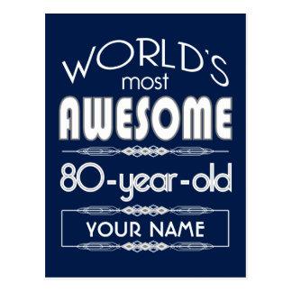 80th Birthday Worlds Best Fabulous Dark Blue Postcard
